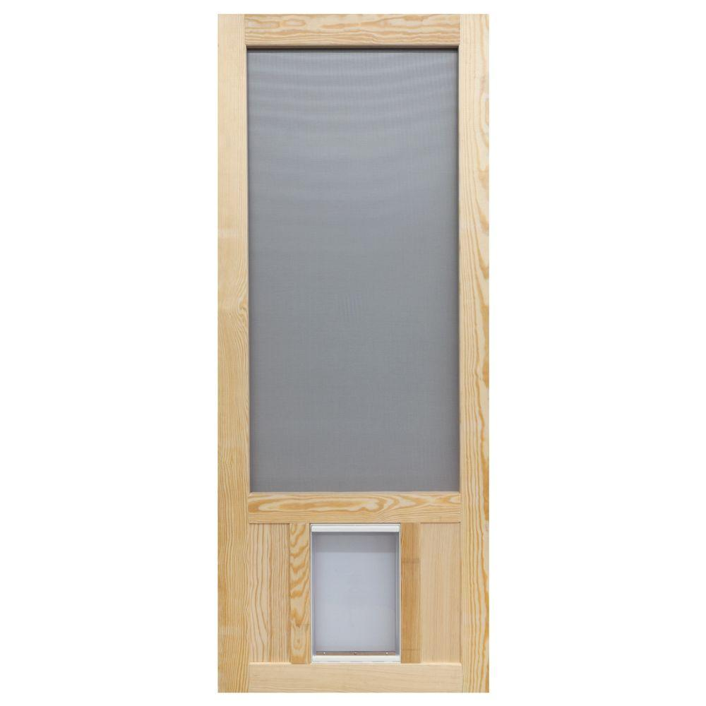 Screen tight 32 in x 80 in chesapeake series reversible wood screen door with