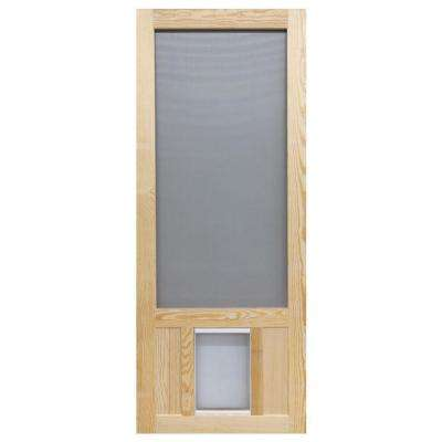 32 in. x 80 in. Chesapeake Series Reversible Wood Screen Door with Extra-Large Pet Flap