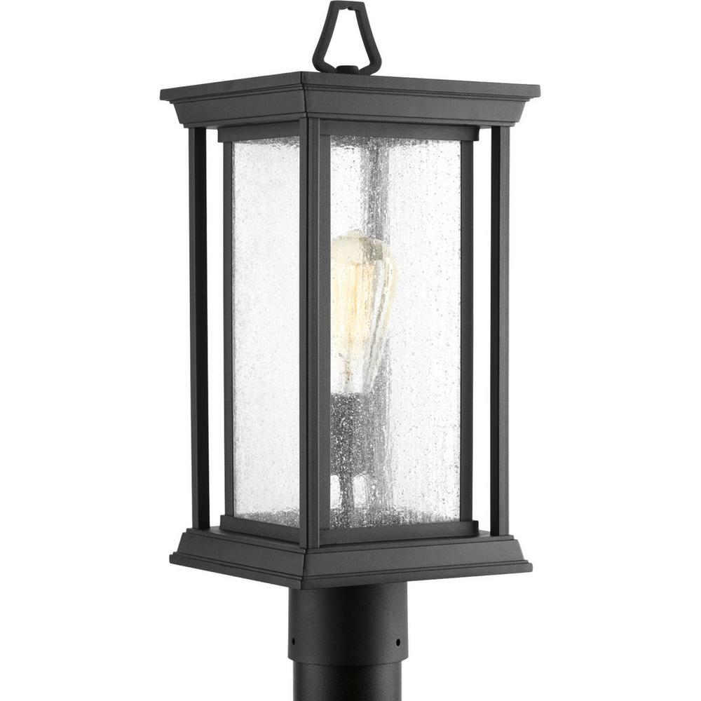 Progress Lighting Endicott Collection 1-Light Outdoor Black Post Lamp