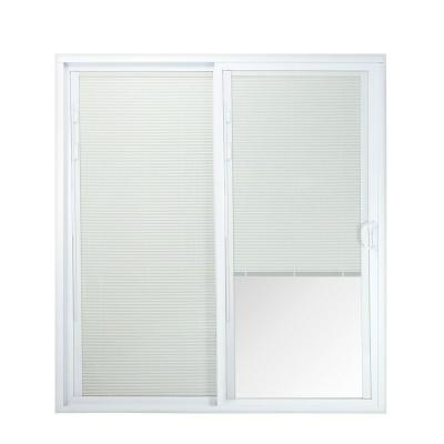72 in. x 80 in. 50 Series White Vinyl Right-Hand Sliding Patio Door with Blinds