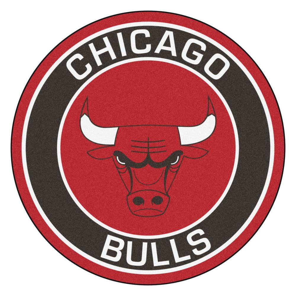 FANMATS NBA Chicago Bulls Black 2 ft. x 2 ft. Round Area Rug