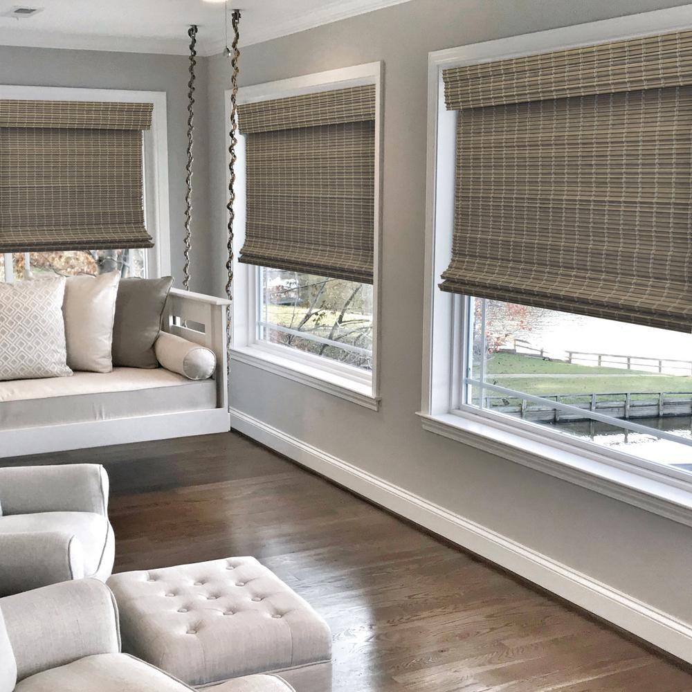 Radiance Driftwood Gray Cordless Semi Private Flat Bamboo Roman Shade 29 In W X 64 In L Actual Size 28 5 In W X 64 In L
