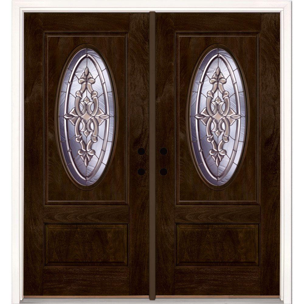 Feather River Doors 74 in.x81.625 in. Silverdale Zinc 3/4 Oval Lite Stained Chestnut Mahogany Left-Hand Fiberglass Double Prehung Front Door