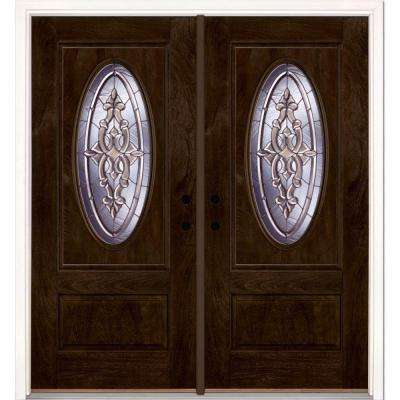 74 in.x81.625 in. Silverdale Zinc 3/4 Oval Lite Stained Chestnut Mahogany Left-Hand Fiberglass Double Prehung Front Door