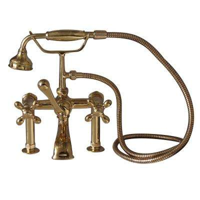 3-Handle Rim Mounted Claw Foot Tub Faucet with Elephant Spout and Hand Shower in Polished Brass