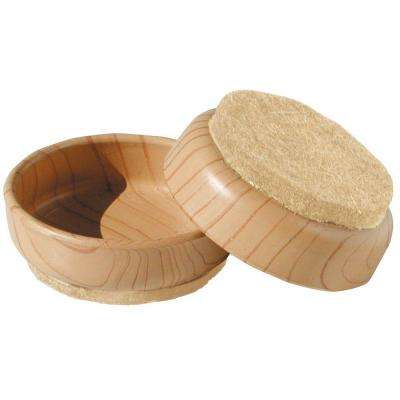 2-3/8 in. Plastic Furniture Cups with Felt Base (4 per Pack)