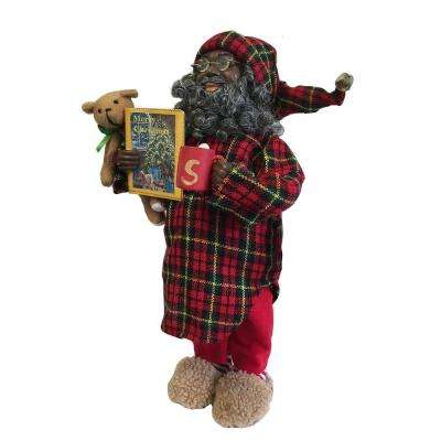 15 in. African American Pajama Claus with Teddy Bear