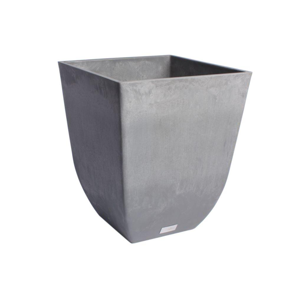 Sierra 18 in. Charcoal Plastic Tall Square Planter