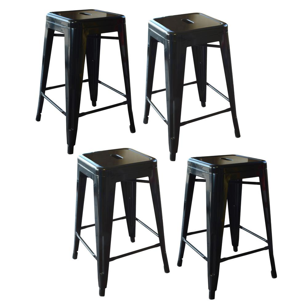 AmeriHome AmeriHome Loft Style 24 in. Stackable Metal Bar Stool in Black (Set of 4)