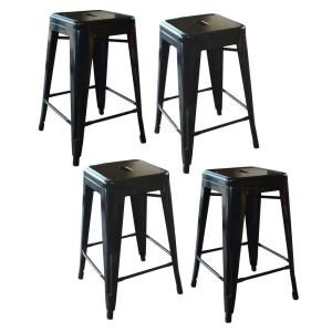 Loft Style 24 in. Stackable Metal Bar Stool in Black (Set of 4)
