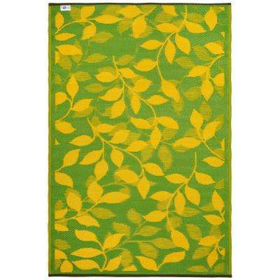 Bali - Indoor/ Outdoor Lemon Yellow and Moss Green (5 ft. x 8 ft. ) - Area Rug