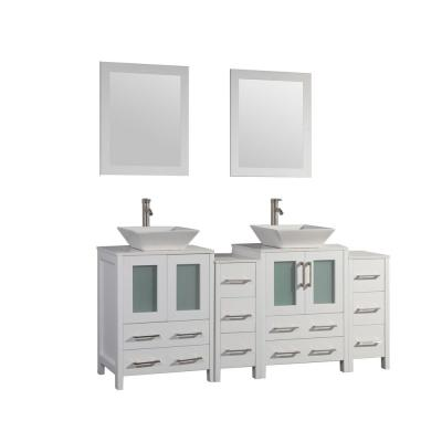 Ravenna 72 in. W x 18.5 in. D x 36 in. H Bathroom Vanity in White with Double Basin Top in White Ceramic and Mirrors