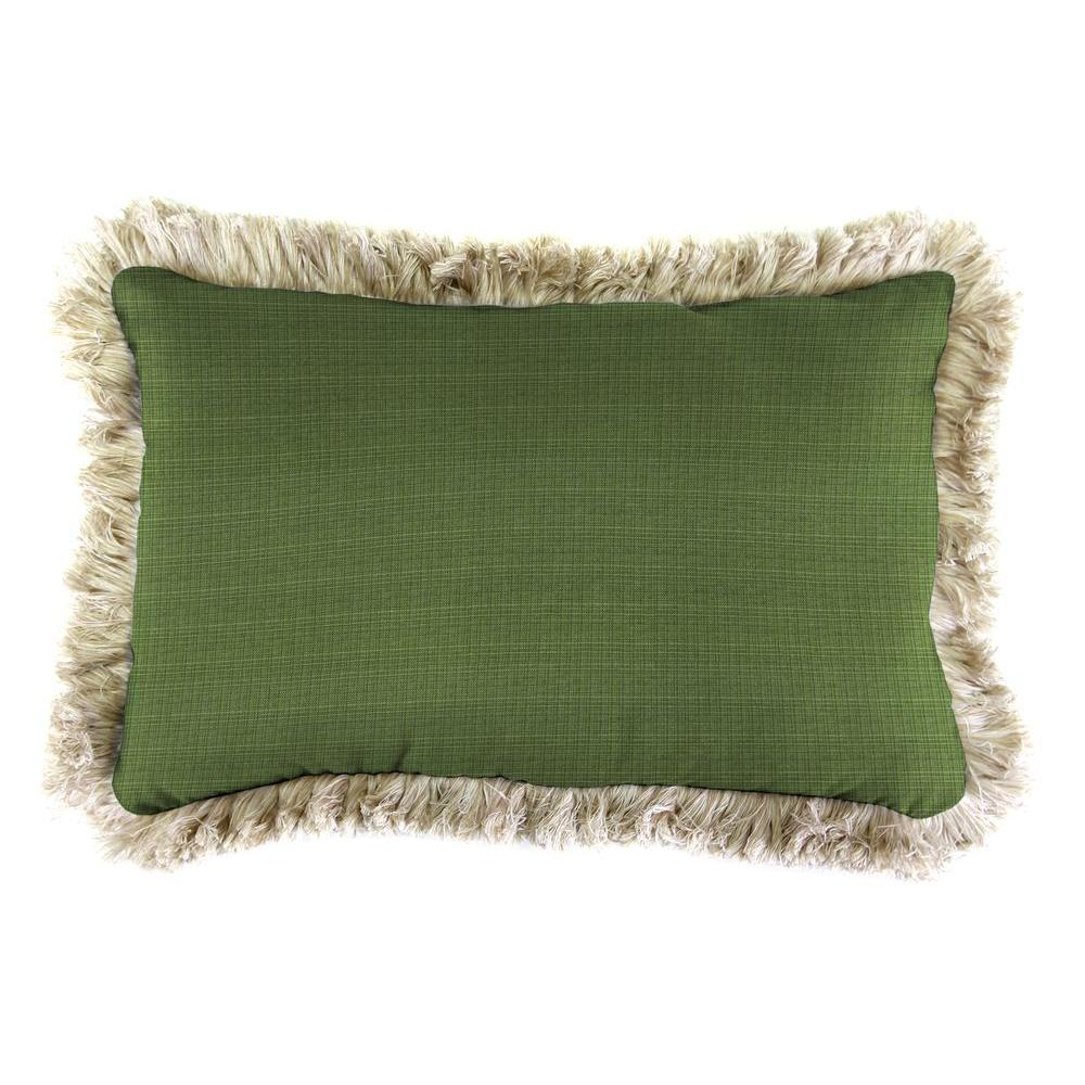 Jordan Manufacturing Sunbrella 9 in. x 22 in. Surge Cilantro Lumbar Outdoor Pillow with Canvas Fringe