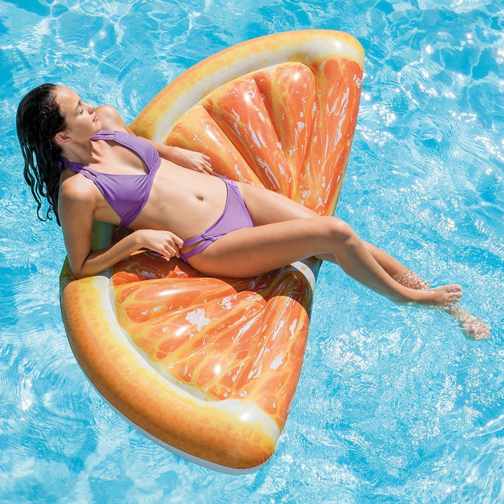 Intex Giant Inflatable 70 in. Orange Slice Mat Swimming Pool Float ...