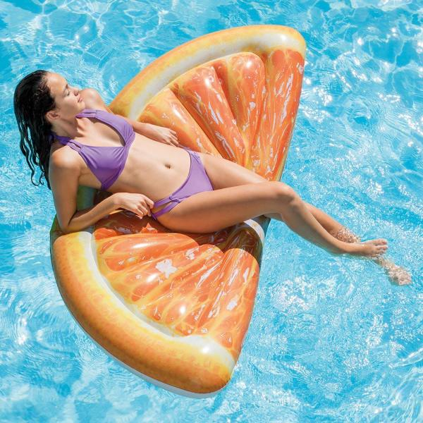 Intex Giant Inflatable 70 Inch Orange Slice Mat Swimming Pool Float Lounger Raft