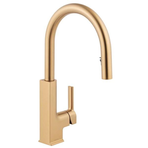 STo Single-Handle Pull-Down Sprayer Kitchen Faucet with Reflex in Brushed Gold