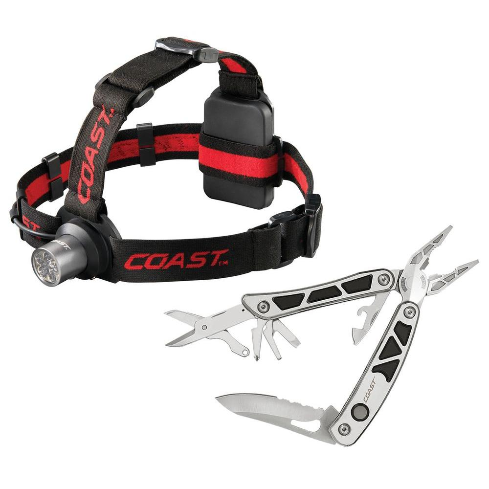 Coast LED Pro Pocket Pliers 9 Function Multi Tool and 6 Chip LED Headlamp Combo Pack