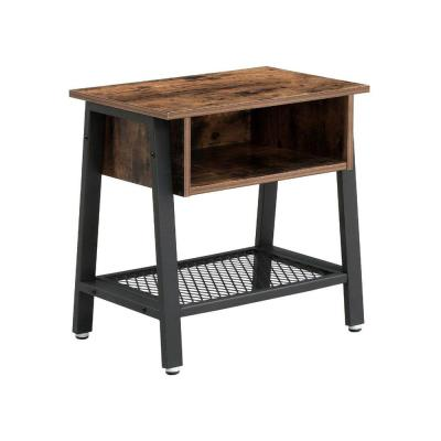 Industrial Style Brown and Black Wooden Nightstand with Mesh Bottom Shelf 31.5 in. H x 13.8 in. W x 39.4 in. L