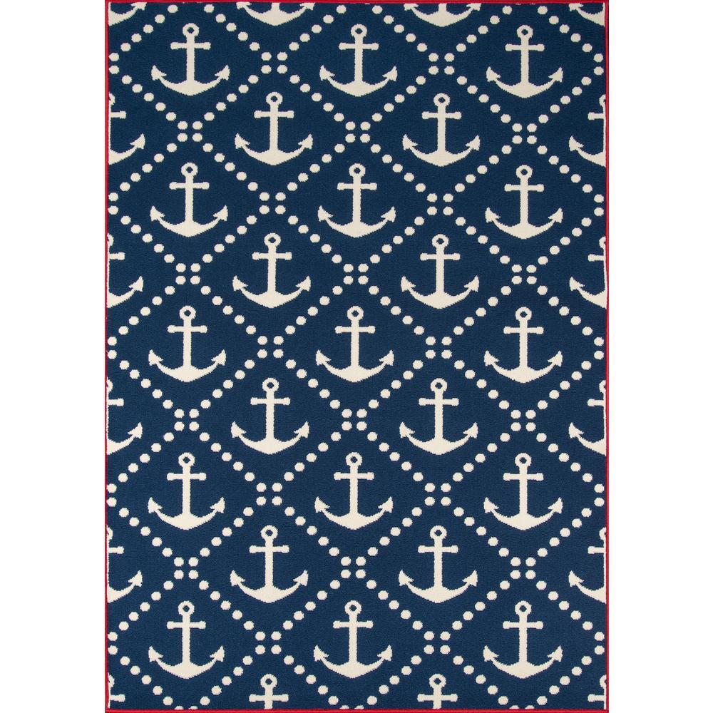 Baja Anchors Navy 7 ft. 10 in. x 10 ft. 10 in. Indoor/Outdoor Area Rug