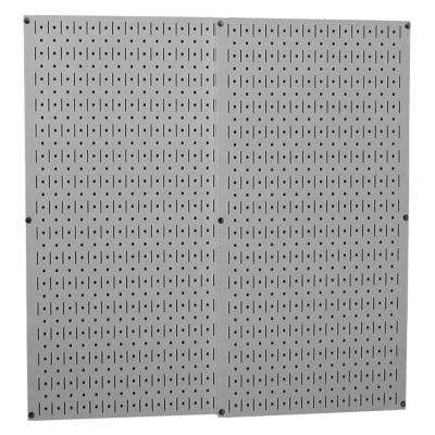 32 in. x 32 in. Overall Size Gray Metal Pegboard Pack with Two 32 in. x 16 in. Pegboards