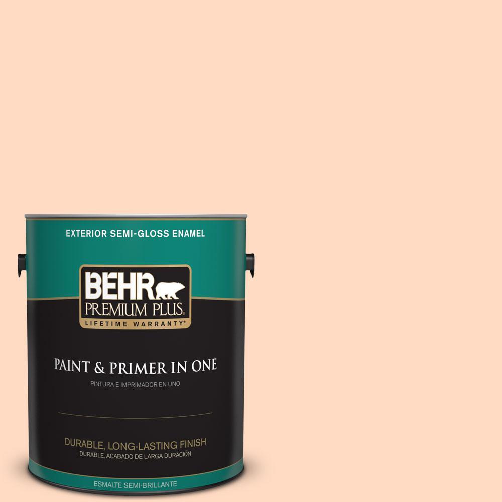BEHR Premium Plus 1-gal. #250A-3 Whispering Peach Semi-Gloss Enamel Exterior Paint