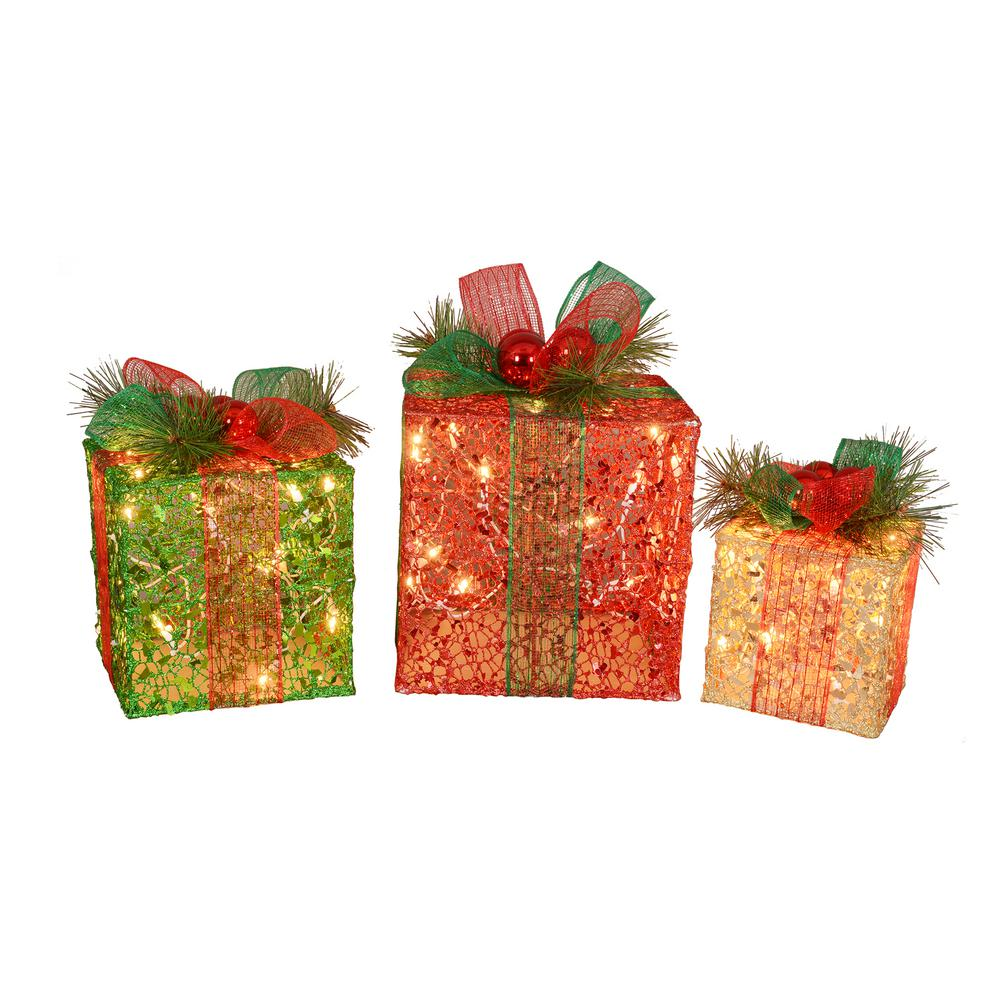 Led Clear Lighted Glitter Gift Box