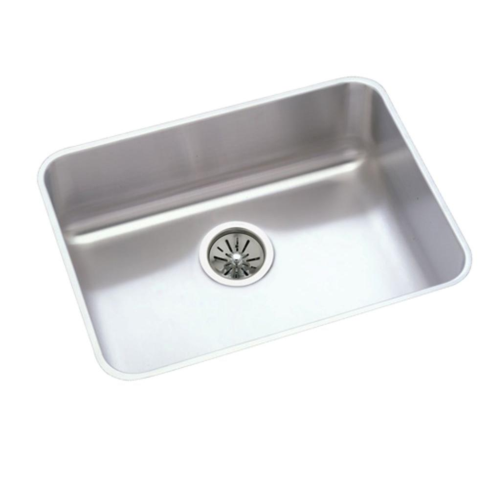 Elkay Ertone Undermount Stainless Steel 24 In Single Bowl Kitchen Sink With 7 5