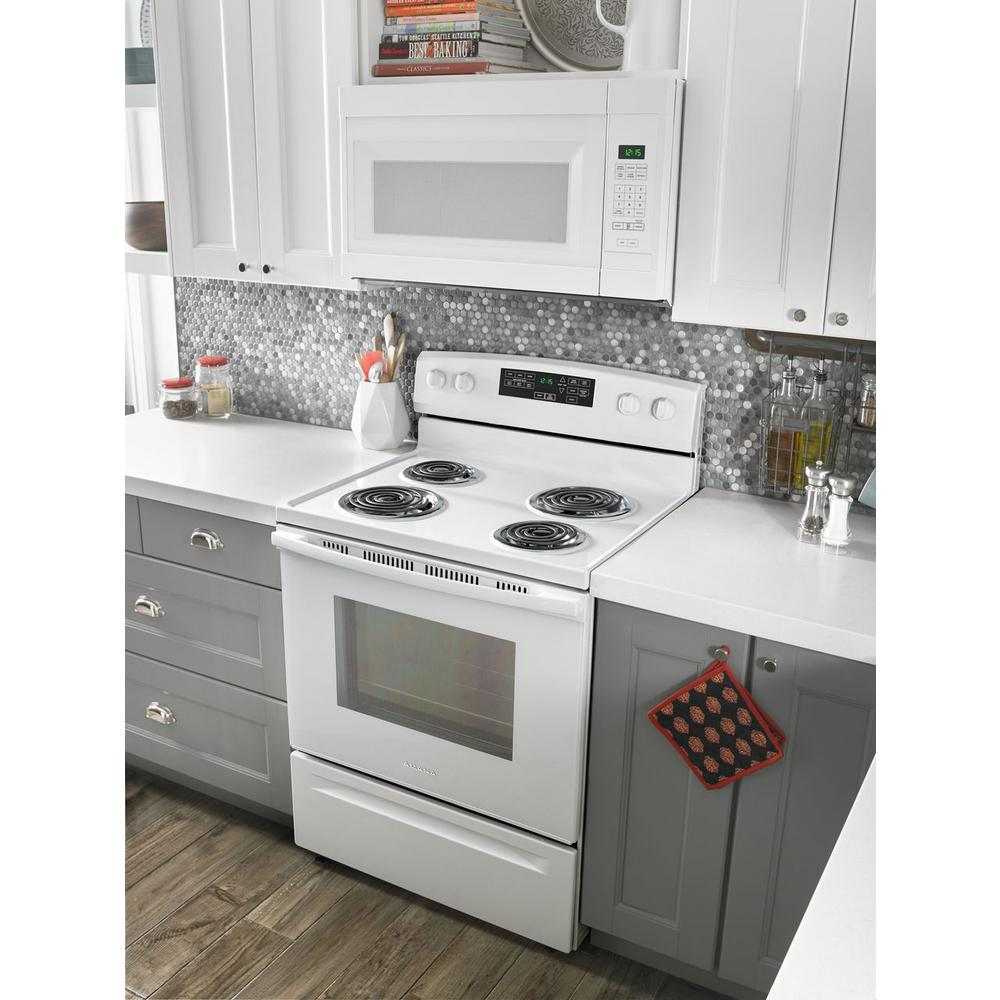 Amana 1 6 Cu Ft Over The Range Microwave In White Amv2307pfw The Home Depot