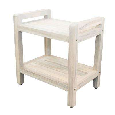 Classic 20 in. Teak Shower Stool in White Wash with LiftAid Arms And Shelf