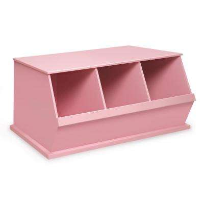 37 in. W x 17 in. H x 19 in. D Pink Stackable 3-Storage Cubbies