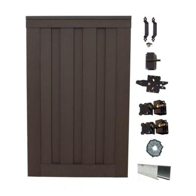 Seclusions 4 ft. x 6 ft. Woodland Brown Wood-Plastic Composite Privacy Fence Single Gate with Hardware