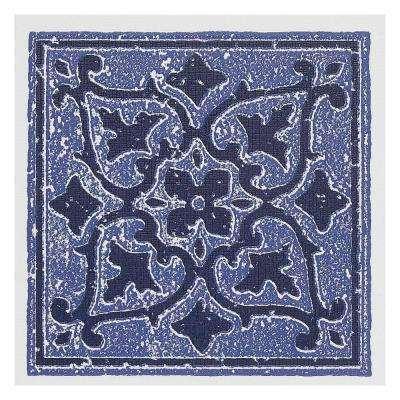 Vinyl 4 in. x 4 in. Self-Sticking Motif Wall/Decorative Wall Tile in Blue Accent (27 Tiles Per Box)