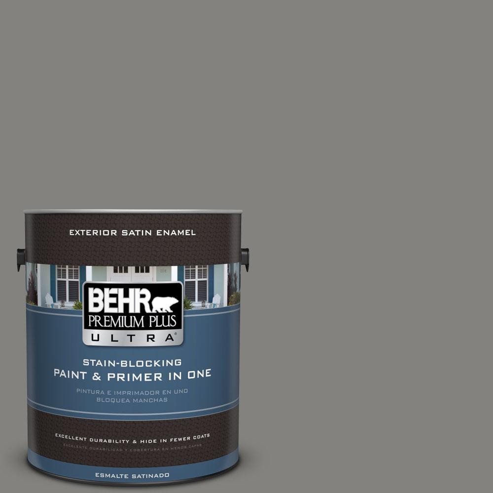 BEHR Premium Plus Ultra 1-gal. #BNC-25 Gray Pepper Satin Enamel Exterior Paint