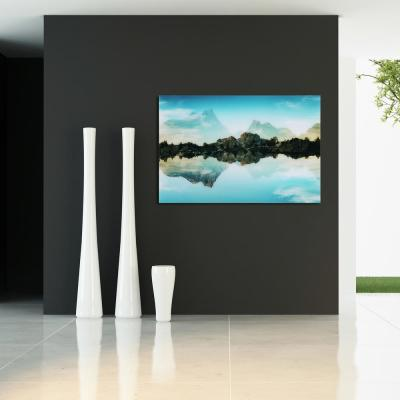"32 in. x 48 in. ""Quiet Waters"" Frameless Free Floating Tempered Glass Panel Graphic Wall Art"