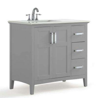 Winston 36 in. Left Offset Bath Vanity in Warm Grey with Marble Extra Thick Vanity Top in Bombay White with White Basin