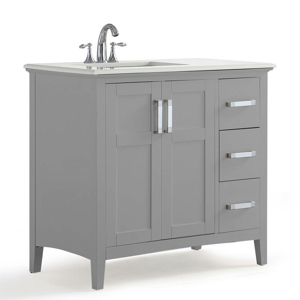 Bathroom Vanity Light Offset: Simpli Home Winston 36 In. Left Offset Bath Vanity In Warm