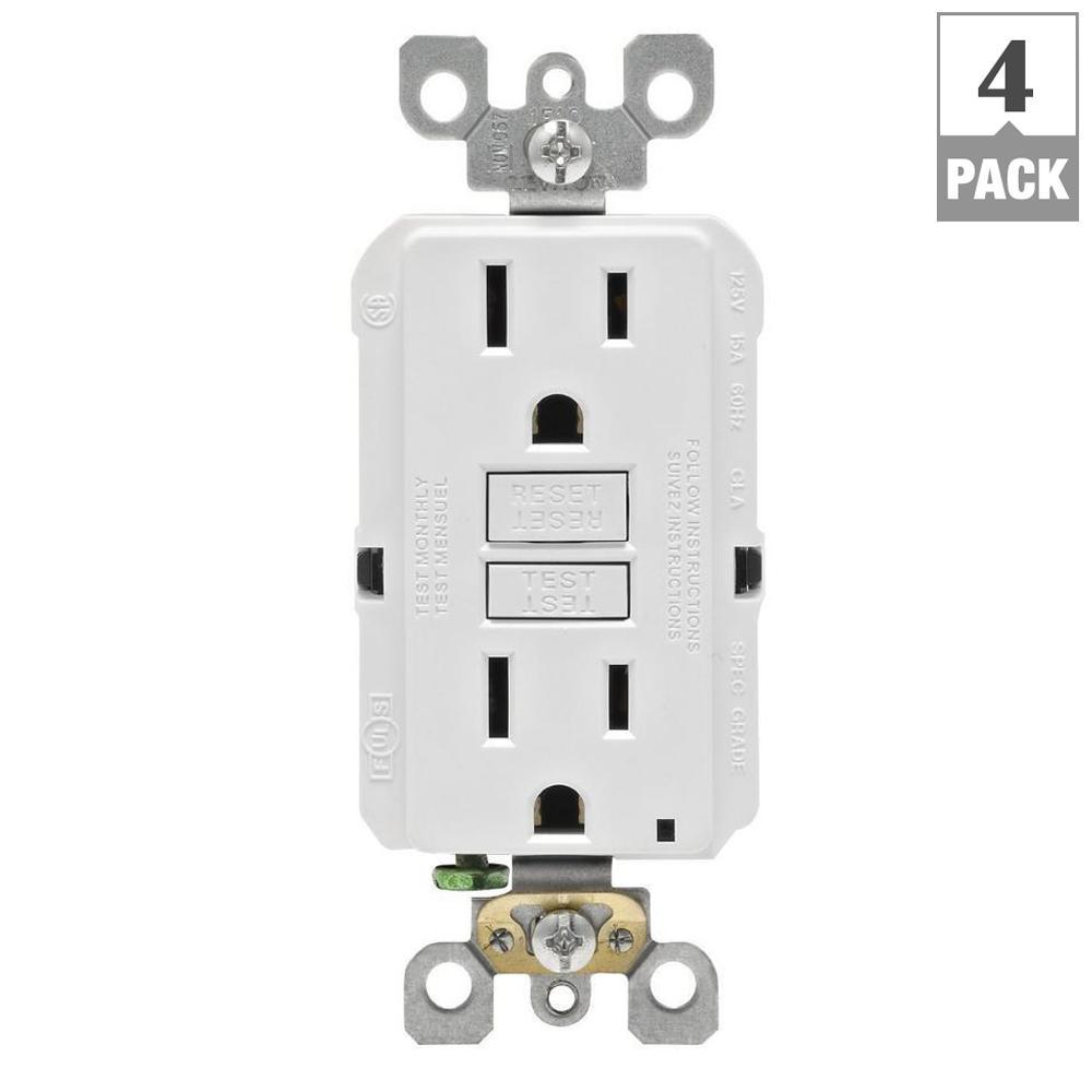 Leviton 15 Amp Self Test Smartlockpro Slim Duplex Gfci Outlet White Socket Wiring Diagram R72 Gfnt1 0rw The Home Depot