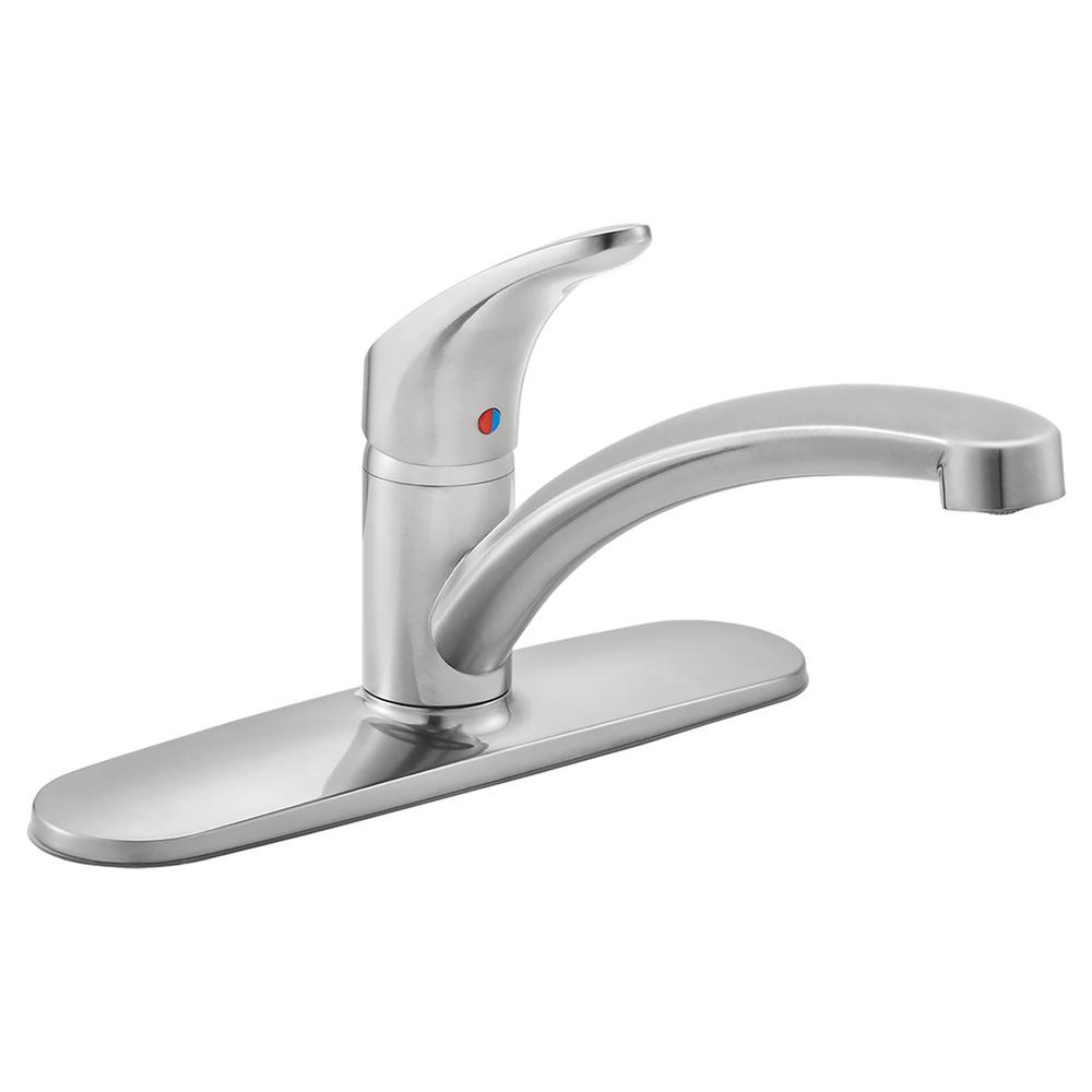 Colony Pro Single-Handle Standard Kitchen Faucet with Deck Plate in Stainless
