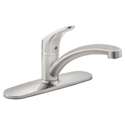 Colony Pro Single-Handle Standard Kitchen Faucet with Deck Plate in Stainless Steel