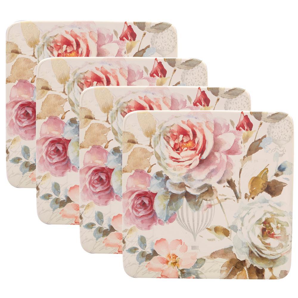 Beautiful Romance 4-Piece Multi-Colored 8.5 in. Salad Plate Set