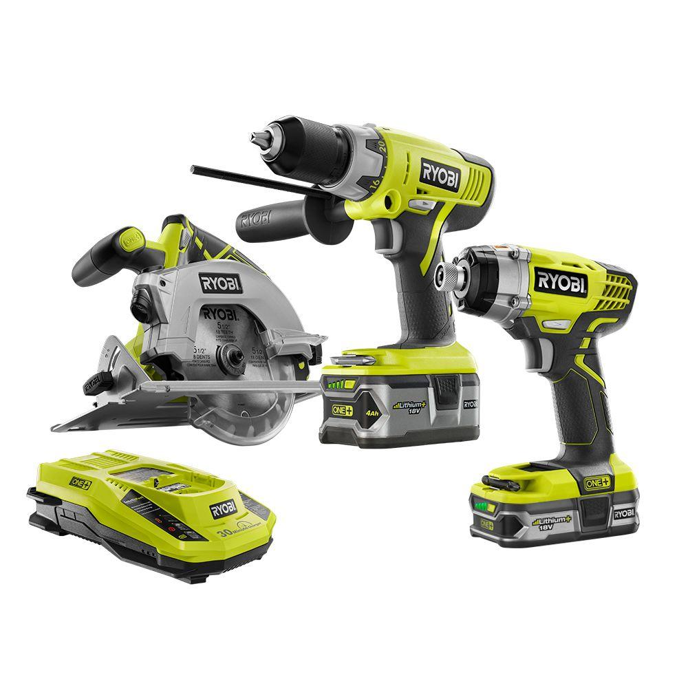 ryobi 18 volt one lithium ion cordless combo kit 3 tool p1878 the home depot. Black Bedroom Furniture Sets. Home Design Ideas