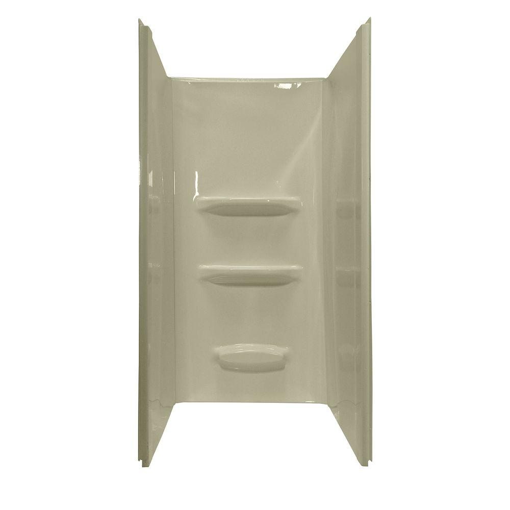Lyons Industries Elite 36 in. x 36 in. x 69 in. 3-Piece Direct-to-Stud Shower Wall Kit in Biscuit