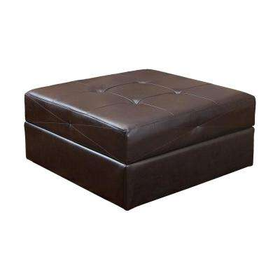 Burlington Brown Leather Storage Ottoman