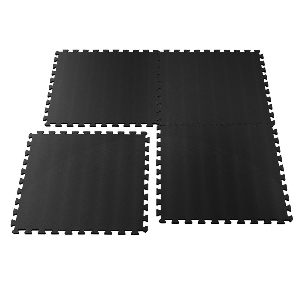 Stalwart Ultimate Comfort 24 in. x 24 in. Black Foam Garage Flooring (4-Pack)