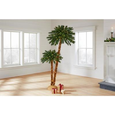 6 ft LED Artificial Palm Tree 2pk with 350 Warm White Lights