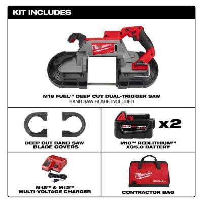 M18 FUEL 18-Volt Lithium-Ion Brushless Cordless Deep Cut Dual-Trigger Band Saw Kit with Two 5.0 Ah Batteries