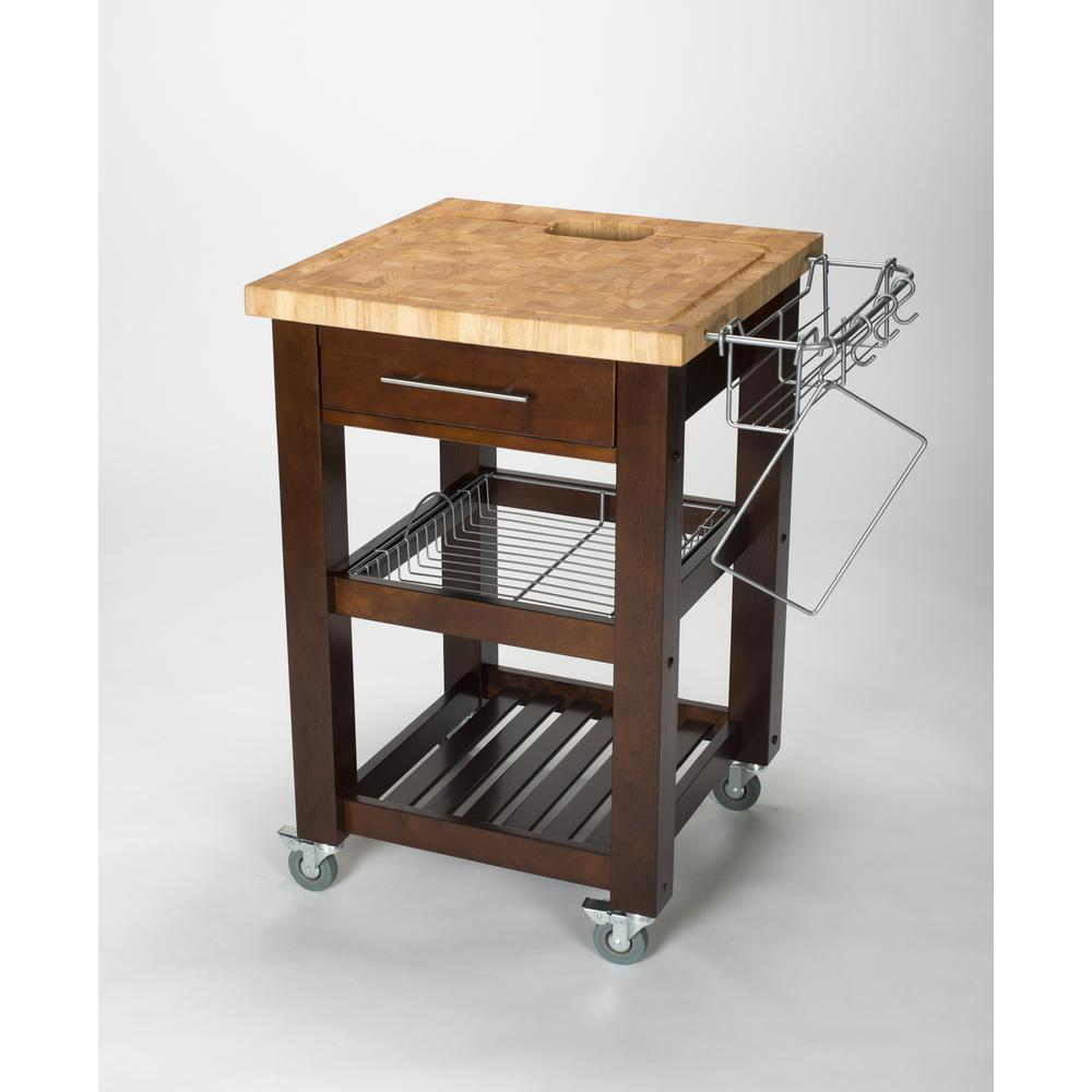 Chris Pro Chef Espresso Kitchen Cart With Storage