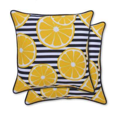 Lemon Printed Square Outdoor Throw Pillow (2-Pack)