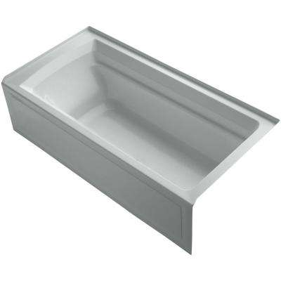 Archer VibrAcoustic 6 ft. Right Drain Soaking Tub in Ice Grey with Bask Heated Surface