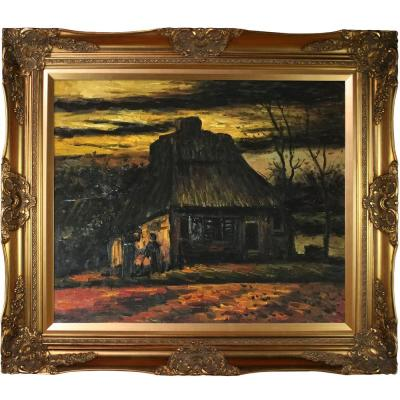 """32 in. x 28 in. """"The Cottage, 1885 with Victorian Gold Frame """" by Vincent Van Gogh Framed Wall Art"""